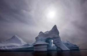An iceberg melts off Ammassalik Island in Eastern Greenland.