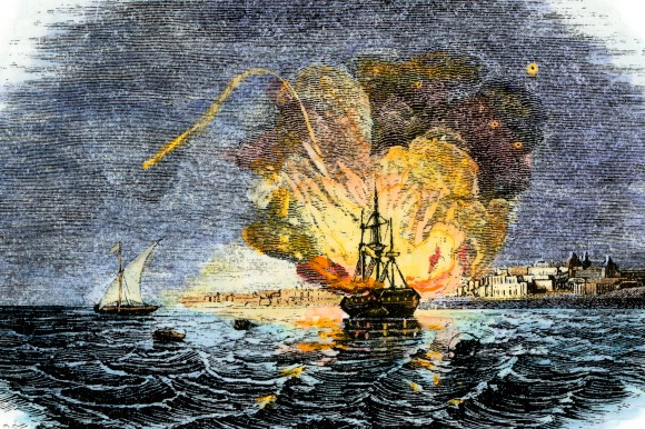 Burning of the American ship Philadelphia held by Barbary Pirates in Tripoli harbor 1804